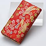 iphone6,6sケース(アイフォンケース6、6s)和柄で高品質の手帳型 西陣織りの金襴 (赤)