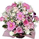 バラ ピンク アレンジ お誕生日 記念日に翌日配達 お花屋さんPink roses wih basket for birthday or anniversary gift