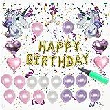 ユニコーンパーティー用品誕生日パーティーデコレーションfor Kids 27パック|ユニコーンパーティーキットテーマwith Glitterユニコーンヘッドバンドの誕生日GirlゴールドバルーンFoilラテックスバルーン