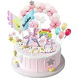 MOVINPE Unicorn Cake Topper, 2 Magic Unicorns Sculpture, 1 Pink Hairball Arch, 1 Rainbow, 1Wings Happy Birthday Banner, 2 Clo