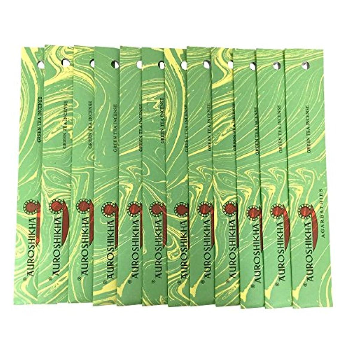 敬意を表する有用帰るAUROSHIKHA オウロシカ(GREENTEAグリーンティー12個セット) マーブルパッケージスティック 送料無料