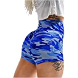 Cicy Bell Women's High Waisted Workout Shorts Sports Gym Scrunch Booty Butt Lifting Camouflage Yoga Leggings