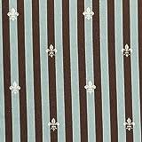 有輪商店 YUWA 綿麻 生地 フルール・ド・リス 全6色 50cm単位販売 (ブルーグレー×ブラウン)