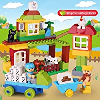 SUPOW Building Blocksおもちゃ、pre-kindergarten 66個My Happy playfarm Educational Toy for Toddlers