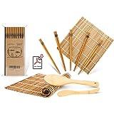 Sushi Making Kit, Bamboo Sushi Mat, Including 2 Sushi Rolling Mats, 5 Pairs of Chopsticks, 1 Paddle, 1 Spreader, 1 Beginner G
