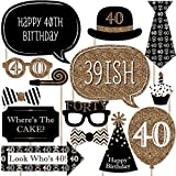 Adult 40th Birthday - Photo Booth Props Kit - 20 Count