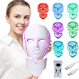 LED Face Mâsk Light Therapy | 7 Color Skin Rejuvenation Therapy LED Photon Mâsk Light Facial Skin Care Anti Aging Skin Tighte