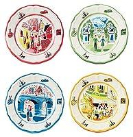 """Euro Ceramica Turnerクラシックムービーのパリのアメリカ人コレクション8.7""""セラミックサラダ/デザートプレート、4のセット、Assorted Designs、マルチカラー"""