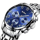 時計メンズ腕時計ラグジュアリークラシックブルーステンレス腕時計ビジネスカジュアルウォッチメンズ防水マルチ機能クォーツ腕時計メンズ