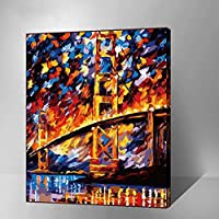 MADE4U [印象主義 シリーズ] [50x40センチ] [厚い(1インチ)] [木製フレーム] 数字キットによる絵画 DIY キャンバス、ブラシ、ペイントを含む (ゴールデンゲート) GX6388