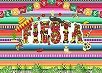 KSZUT 7x5フィート フィエスタ 背景幕 タコ バウト メキシカン ドレスアップ 写真 背景 ビニール フィエスタテーマ 誕生日パーティー バナー 背景幕 210-1