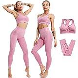 YONYAN Sports Bra Underwire Leggings Padded Seamless for Women Pocket Yoga Workout Gym Bras Outfits (Pink Set, Medium)