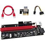 PCIE Riser 1X TO 16X Graphics Extension for GPU Mining Powered Riser Adapter Card 60cm USB 3.0 Cable 4 Solid Capacitors Two 6