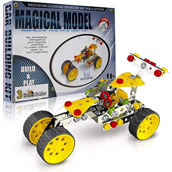 DIY Construction Educational Gift for Boys and Girls Age 8 9 10 11 Years Old 3 Bees /& Me STEM Car Building Toy Kit Kids Age 6 and 7 Can Do with Help Unique and Fun