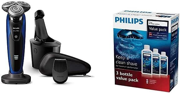 【セット買い】[2018年モデル] フィリップス 9000シリーズ メンズ 電気シェーバー 72枚刃 回転式 お風呂剃り & 丸洗い可 トリマー・洗浄充電器付 S9186A/26 & フィリップス ジェットクリーン クリーニング液 センソタッチ3D & 2Dシリーズ用 3個パック (3ヶ月分) HQ203/61