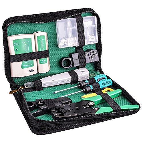 Kuman 9点セット LANケーブル 自作工具 10個RJ45プラグ 圧着ペンチ 皮むき工具 テスター プラグ ドライバー 自作向け 工具 道具 自家用 収納ケースアリ P9100