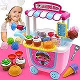 Kids Supermarket Pretend Play Icecream Dessert Toys Set Shop Cart Horn Spoon Toy