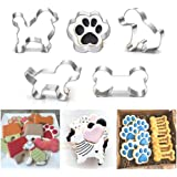 Puppy Dog Paw and Bone Shaped Cookie Cutter, Stainless Steel Biscuit/Fondant Molds Homemade Baking Tools by EORTA for Kids, P
