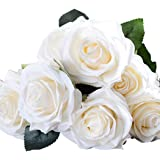 Coxeer Wedding Artificial Flower Simulated 10-Head Romantic Fake Rose Faux Decor Plant