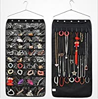 MIDORI ジュエリーハンギング式不織布オーガナイザークローゼットドアホルダー40ポケット21フックとループ ハンガー付き ブラック