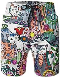 猫の絵画 メンズ サーフパンツ 水陸両用 水着 海パン ビーチパンツ 短パン ショーツ ショートパンツ 大きいサイズ ハワイ風 アロハ 大人気 おしゃれ 通気 速乾