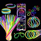 Premium Glow Sticks 100 Bulk Ultra Bright Glow Party Pack 8 inch with Connectors, Glow Sticks Party Supplies Emergency Light