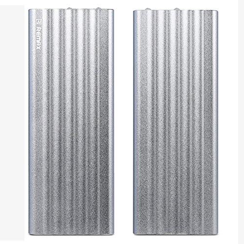 [REMAX]20000mAh モバイルバッテリー 大容量 2台同時充電 LEDライト付き 急速充電 iPhone iPad Galaxy Xperia カメラ ゲーム機対応(シルバー)