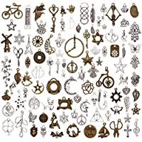 Niome 100 Pcs/Set Lots Silver Bronze Mixed Patterns Charms Pendants DIY Jewelry for Necklace Bracelet Making Accessaries