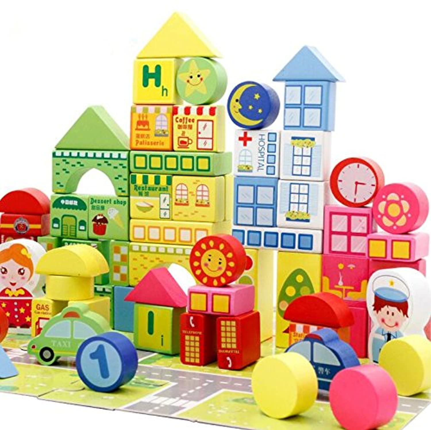 City Traffic木製ビルディングブロックStacking set-100櫛基本Educational Build & Play Puzzle Jigsawおもちゃfor Toddlers Preschool Age
