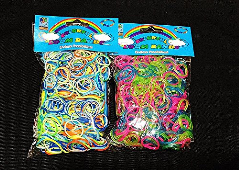 [Artasy ™][並行輸入品] DIY 二重リングゴム X 銀ラメゴムバンドブレスレット (ミックス) Loom Bands refill Pack - (600 + 600 pcs) rubber ring Color: MIX
