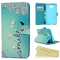 Mavis's Diary Samsung Galaxy J7対応ケース レザー素材 防塵 耐久性 装着やすい スタンド 手帳型 吸着の機能 ラインストーンデコ電 ブルー