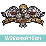 大きいサイズ スカル ローデッド loaded&ready バイカー ワッペン アイロンで圧着 のり付き