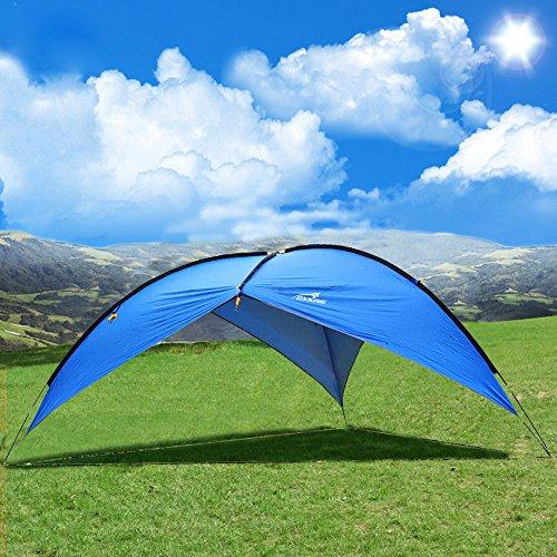 Oxking アウトドア キャンプ タープ パーティーシェード 5-8人 キャノピー uvカット 釣り ガーデン シェルター 耐水 サイドオーニング ビーチ テント TM01(ブルー,三辺)