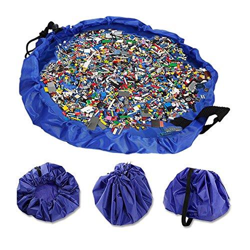 jialeey子供の遊びマットとおもちゃストレージバッグマルチ目的キッズアクティビティポータブルクイッククリーンアップポーチ簡単Folds Up Baby Playの床マットPlaybag Legoストレージ、ブルー