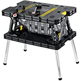 Keter Folding Compact Workbench Work Table with Clamps, 21.7 x 33.5 x 29.75-Inches, Black