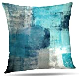 Alricc Pillow Cases Decorative Bedroom, Cotton, Turquoise and Grey Art, 18X18