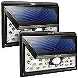 Litom ソーラーライト 人感センサー 広角 玄関入口/屋外照明/軒先/ガーデン/駐車場などに適用(2点セット)