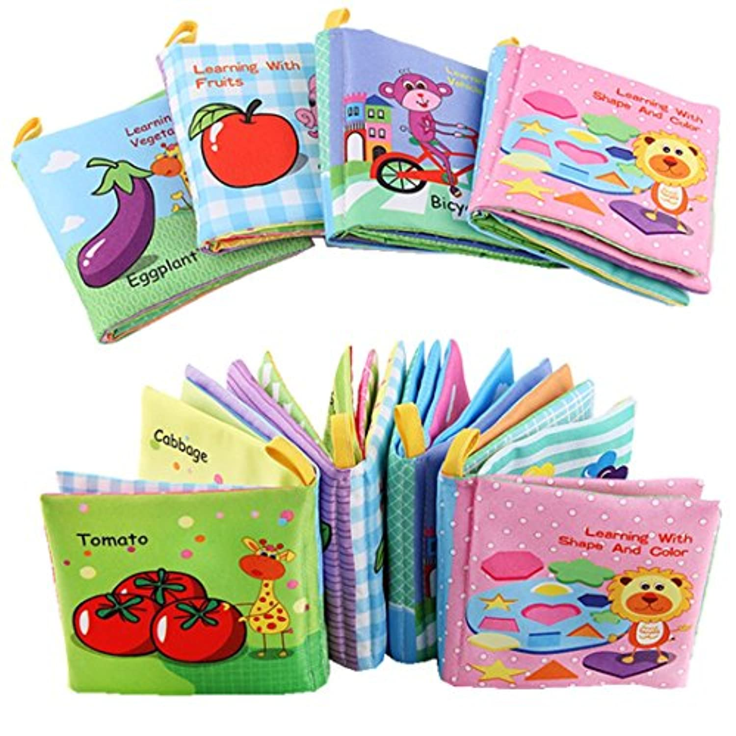 (4 in 1 Pack) - Baby Fabric Book Williant Early Education Toys Animal Vegetable Fruit Vehicle Shape Colour Recognition Toys Baby Non-Toxic Cloth Book Washable (4 in 1 Pack)