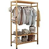 Bamboo Garment Closet Coat Rack Clothes Storage Stand Organizer Hanging Rail Shelf On Wheel Clothing Rack Portable Closet Han
