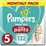Pampers Baby-Dry Nappy Pants Size 5 Walker, 132 Nappy Pants, 12 to 17kg, Monthly Pack