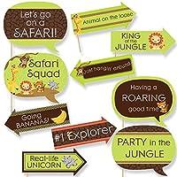 Funny Funfari–Funサファリジャングル–ベビーシャワーまたは誕生日パーティー写真ブース小道具キット–10Piece