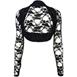 GirlzWalk Women's Long Sleeve Floral Lace Shrug Bolero Ladies Open Front Blouse Shrug