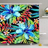 QDYLM 壁紙ジンジャーガーデンダークトロピカル塗装アートパターンテクスチャシームレスブラックエンドレスマイクロファイバーバスルームシャワーカーテン高品質ポリエステル生地71x71インチ