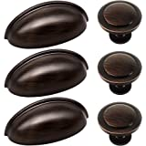 27pcs ORB Cabinet Knobs and Cup Handles, Sunriver 12 Packs Oil Rubbed Bronze Kitchen Cup Pulls 3 Inch 76mm Stainless Steel Bi