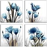 Flower Canvas Prints Wall Art Decor 4 Panels Blue Elegant Tulip Artwork Simple Life Picture for Living Room Bedroom Home Salo