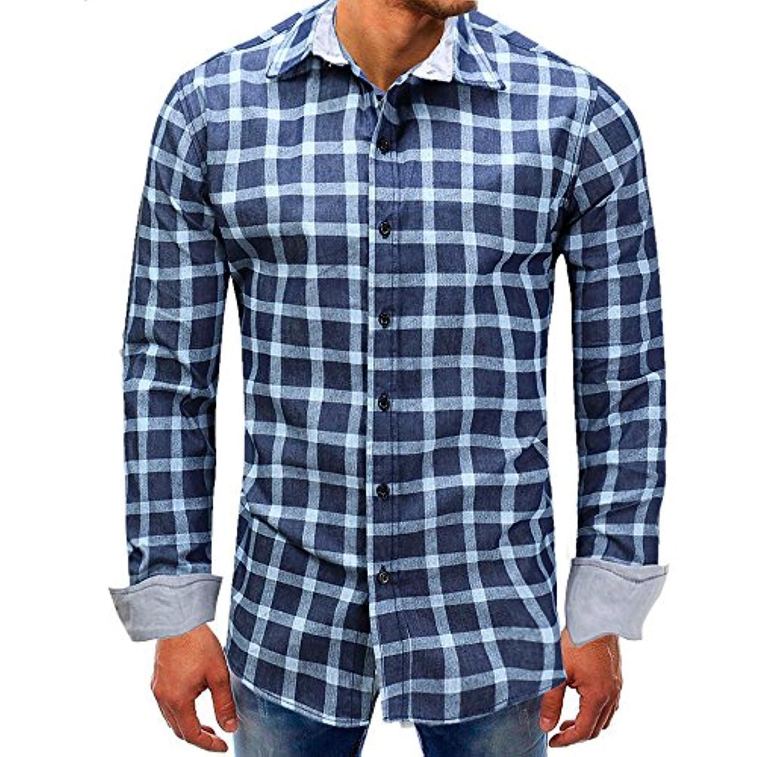 雄大なクロールためにLZE男性 カウボーイ 格子 ロングスリーブ トップ ブルー メンズロング スリーブ 格子 ワイシャツ ファッション 高級ロングスリーブカジュアルスリムフィットビジネス 通勤