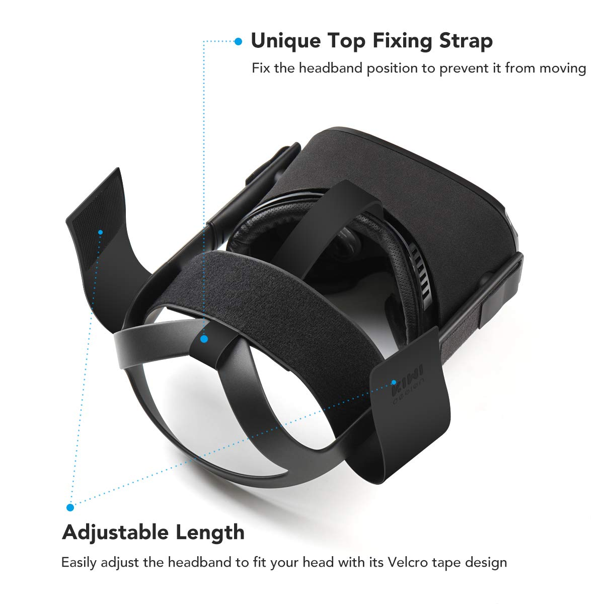 MASiKEN Silicone Face Mask Cover /& Head Strap Pad Cushion for Oculus Quest Headset Accessories with PU Leather /& Reduce Head Pressure Blue