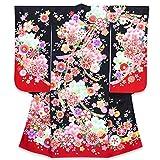 七五三 着物 7歳 女の子 日本製 絵羽柄の子ども着物(正絹) 単品「黒 桜と鞠に熨斗」HAY382