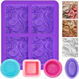 5 PCS Silicone Soap Molds for Soap Making, FineGood Wave Soap Moulds Soap Making Supplies Rectangle 4-Cavity Baking Trays Bak