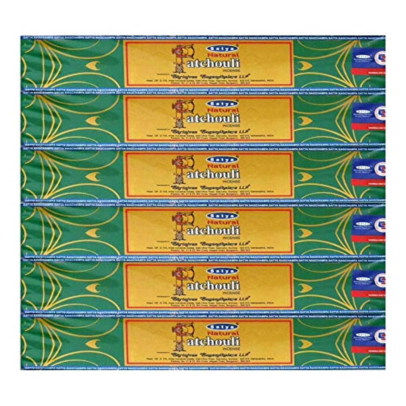 裁判所拾うほんのSatya 天然パチョリ アガーバティ お香箱6本パック 各15グラム 伝統的にインドで手作り 祈り/瞑想/ヨガ/リラクゼーション/ポジティビティ/平和のための自然な香りのキャンドル